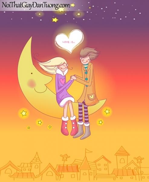 Tranh dán tường, teen ngồi trên vầng trăng cầm tay giữa bầu trời đêm đầy sao DA8019