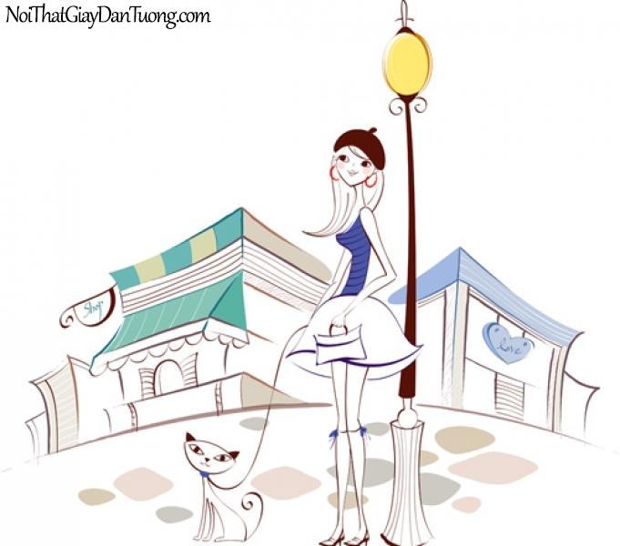 Tranh dán tường, cùng teen đưa con vật yêu thương của mình đi dạo phố DA8034