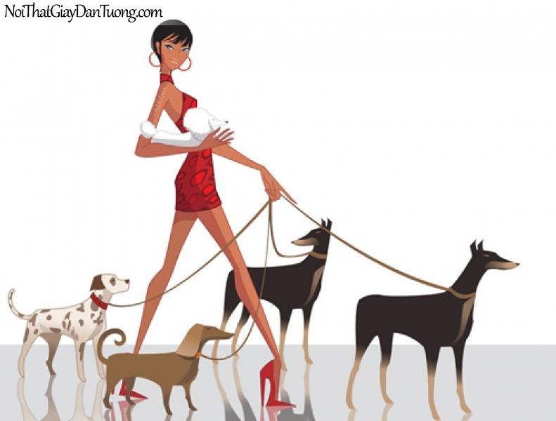 Tranh dán tường, cùng teen đưa những con thú cưng của mình đi dạo phố DA8046