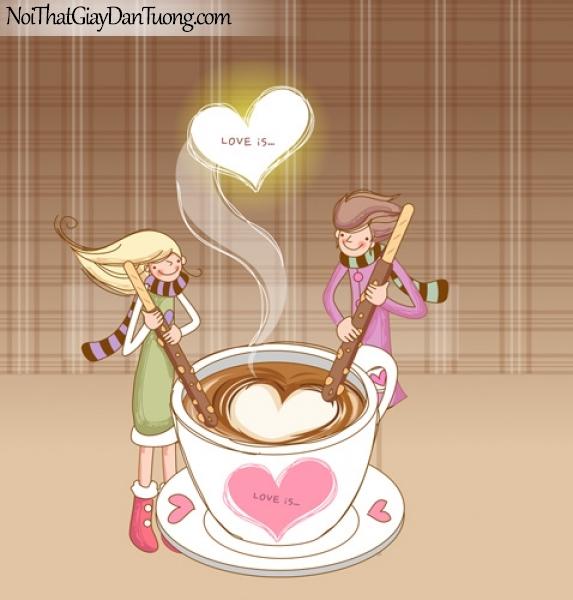 Tranh dán tường, cùng teen khuấy nên những ly cafe ngọt ngào yêu thương DA8060