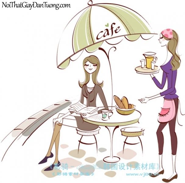 Tranh dán tường, cùng teen uống cafe, ăn sáng và xem thông tin DA8024