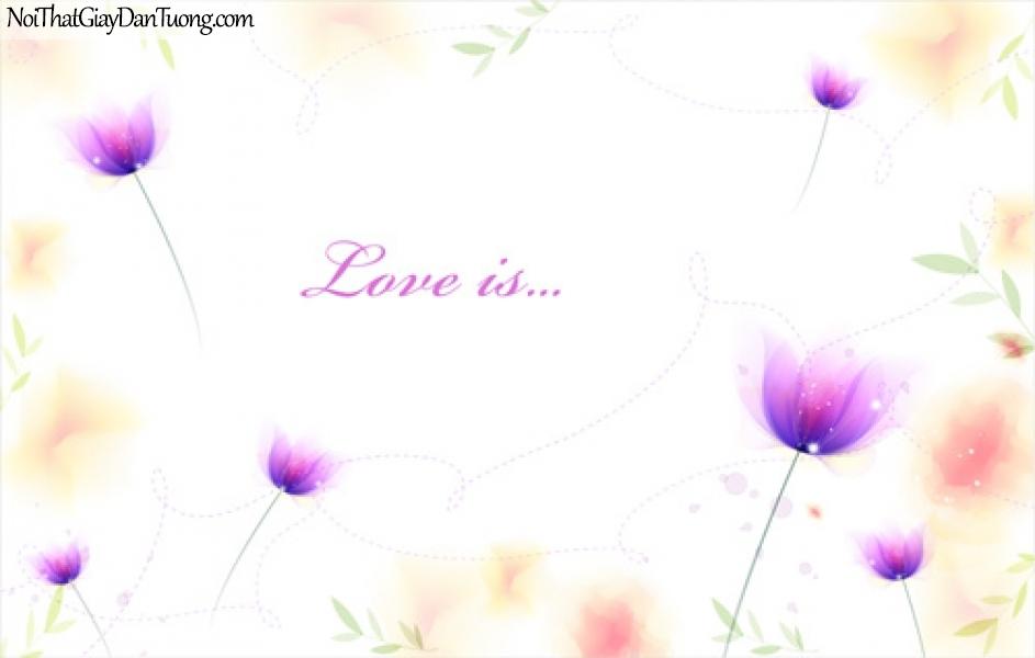 Tranh dán tường , hoa màu tím DA2037