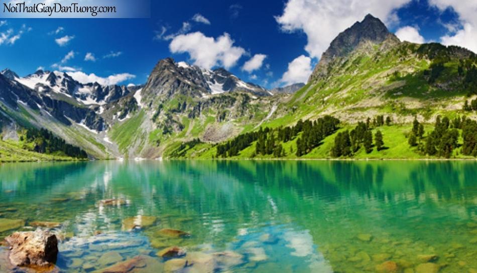 Tranh dán tường, mặt hồ êm đềm bên dãy núi nhấp nhô dưới trời mây xanh DA5017