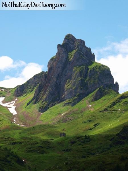 Tranh dán tường, ngọn núi đứng sừng sững như thách thức với thiên nhiên DA5015