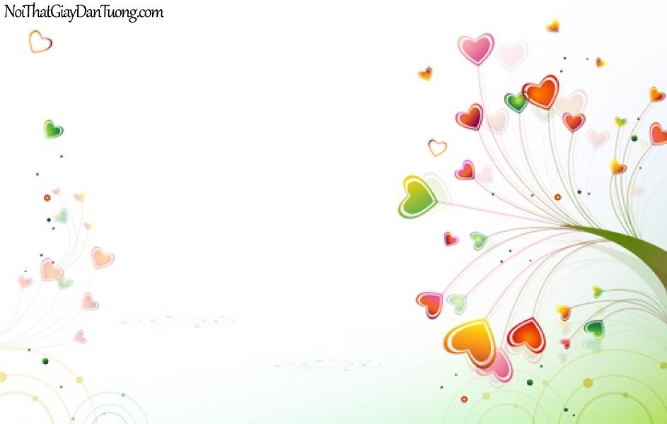 Tranh dán tường , những trai tim nhỏ màu sắc DA2038