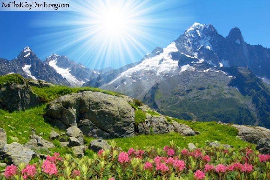 Tranh dán tường, Núi non hùng vĩ dưới ánh mặt trời DA5013