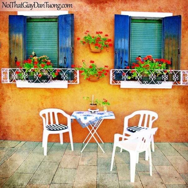 Tranh dán tường, góc phố cổ kính với những chậu hoa và bộ bàn ghế xinh xắn DA7030