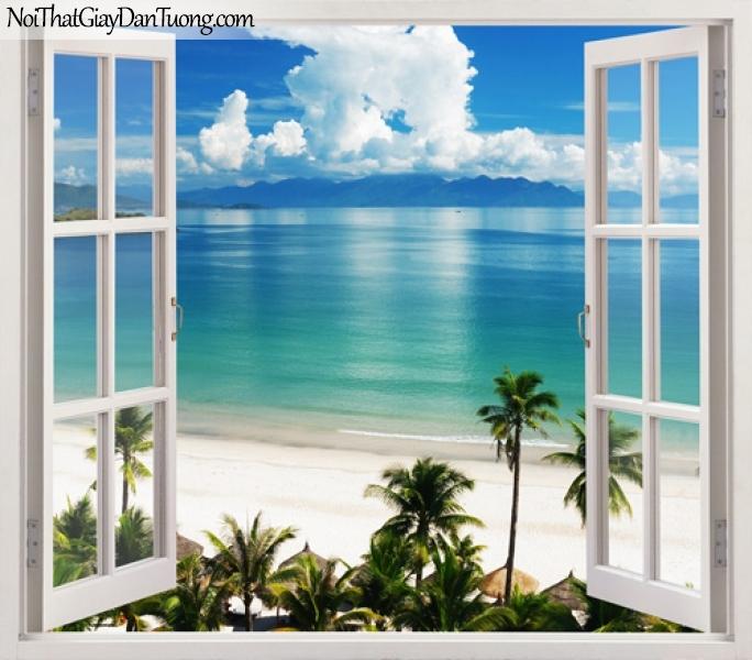 Tranh dán tường, bãi biển xanh với bờ cát trắng và những hàng dừa xanh 3D0010