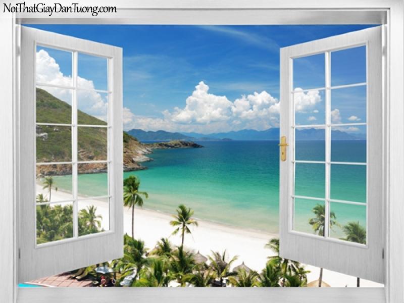 Tranh dán tường, bờ biển xanh với những hàng dừa và bầu trời 3D0008