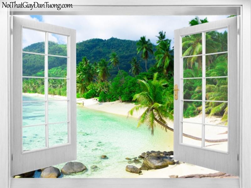 Tranh dán tường, bức tranh mở ra với bờ biển và những hàng dừa nằm bên những ngọn núi 3D0011