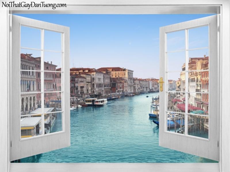 Tranh dán tường, con sông với những con thuyền và những ngôi nhà nguy nga 3D0007