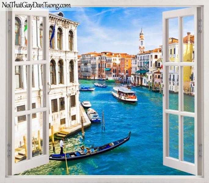 Tranh dán tường, cửa sổ mở ra với bức tranh con kênh chảy giữa thành phố cổ 3D0003