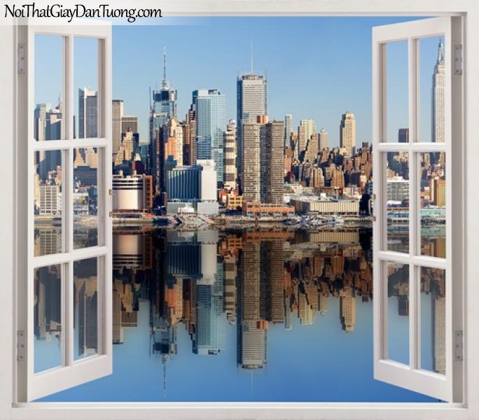 Tranh dán tường, cửa sổ mở ra với dòng sông xanh và thành phố trong ánh nắng ban mai 3D0001