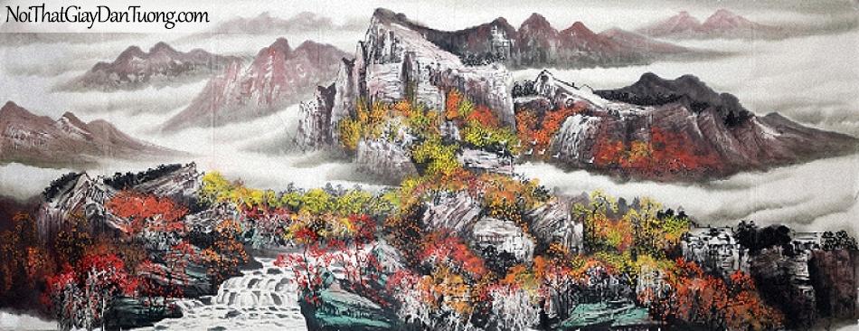 Tranh dán tường , ngắm cảnh phong thủy những ngọn núi và dòng suối DA0560