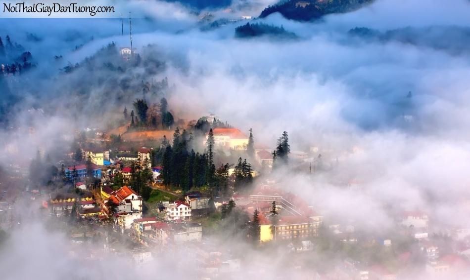 Tranh dán tường , ngắm cảnh thành phố sương mù DA0571
