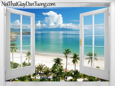Tranh dán tường, những hàng dừa xanh mọc bên bãi biển xanh với bầu trời mây trắng 3D0009