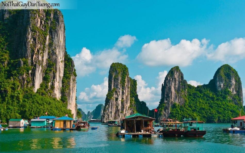 Tranh dán tường , những ngọn núi cao hùng vĩ và chiếc thuyền DA0574