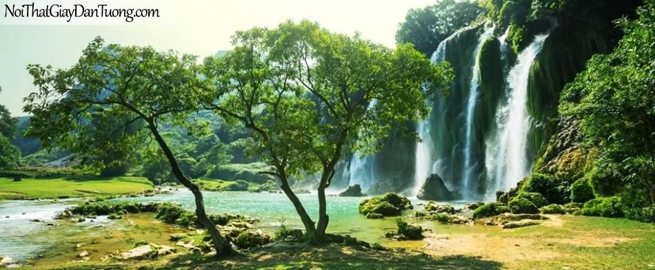 Tranh dán tường , cảnh thác nước chạy từ trên đồi xung hùng vĩ DA0585