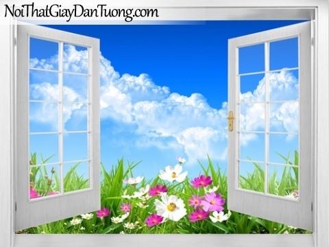 Tranh dán tường, cửa sổ mở ra với bầu trời xanh và những bông hoa đang khoe sắc 3D0014