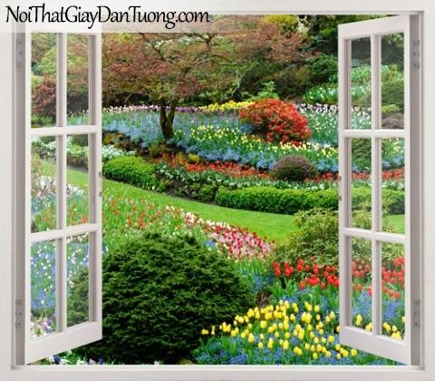 Tranh dán tường, muôn hoa khoe sắc với cây cổ thụ quanh ngôi nhà của bạn 3D0024