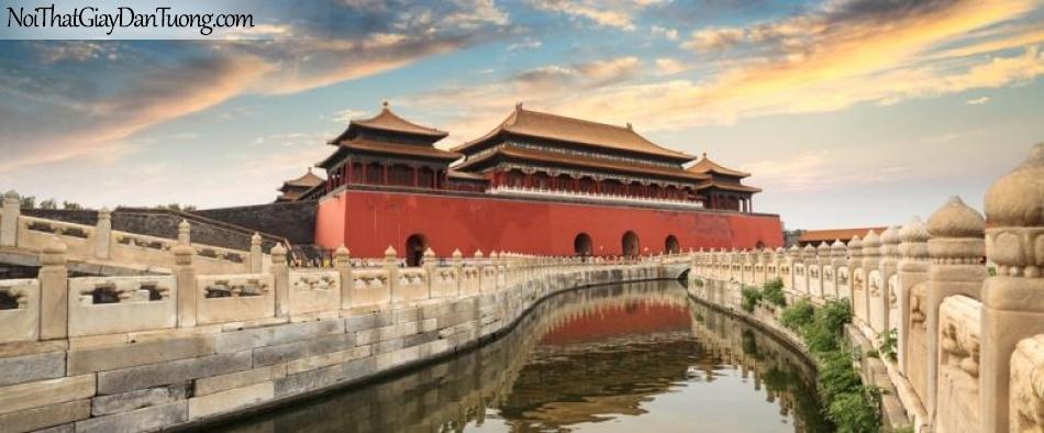 Tranh dán tường , ngôi nhà cung đỉnh và hồ nước chạy quay DA0586