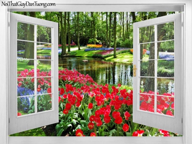 Tranh dán tường, những bông hoa rực rỡ bên con suối nhỏ quanh ngôi nhà của bạn 3D0026