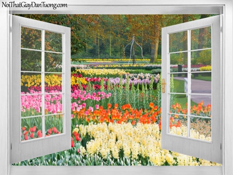 Tranh dán tường, những bông hoa xinh xắn đua nhau khoe sắc dưới những cây cổ thụ mùa thu 3D0018