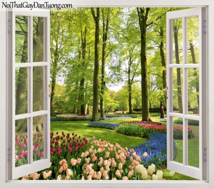 Tranh dán tường, những bông hoa xinh xắn mọc bên dưới bóng mát của những cây cổ thụ 3D0029