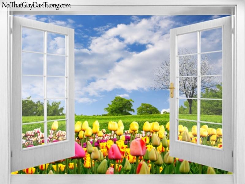 Tranh dán tường, thảm cỏ xanh với những bông hoa nhiều màu sắc 3D0032