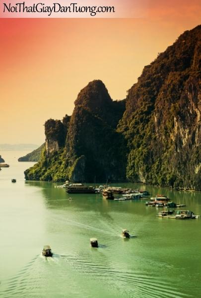 Tranh dán tường , ngắm cảnh đồi núi hùng vĩ và biển có những chiếc thuyền DA0609