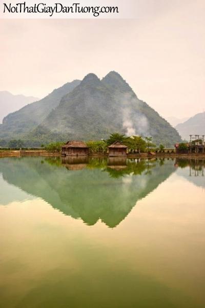 Tranh dán tường , ngắm cảnh đồi núi hùng vĩ và hồ nước DA0605
