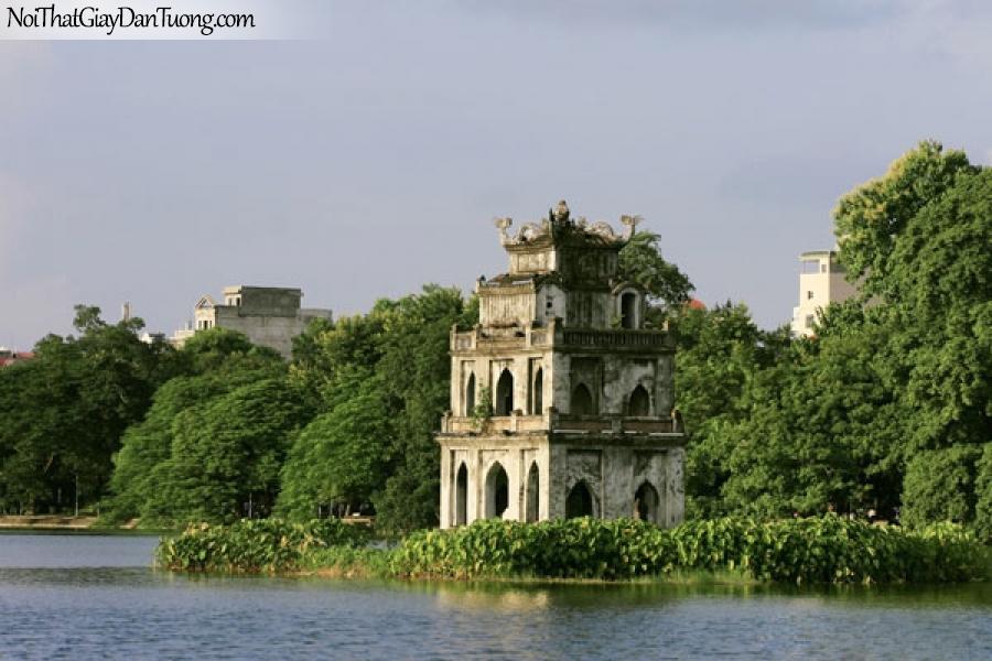 Tranh dán tường , ngắm cảnh hồ nước và ngôi chúa đứng giữa hồ nước DA0602