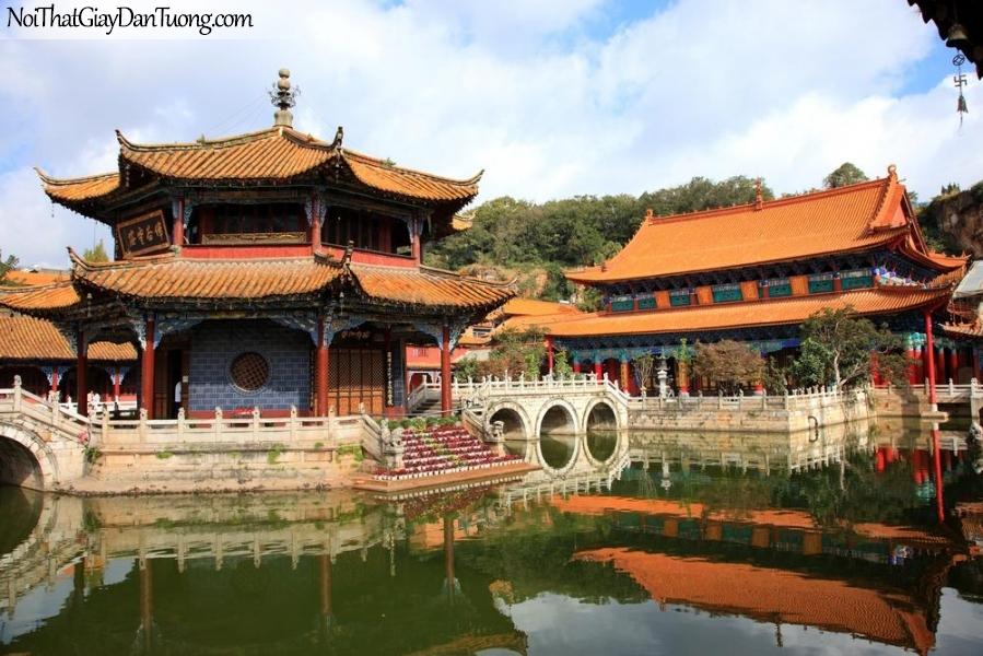 Tranh dán tường , ngắm cảnh những ngôi đền đẹp và hồ nước DA0604