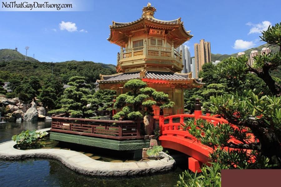 Tranh dán tường , ngôi đền tuyệt đẹp bền cảnh hồ nước DA0603