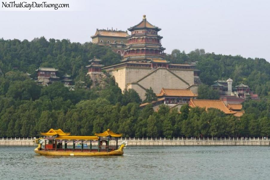 Tranh dán tường , ngôi đền tuyệt đẹp và hồ nước có chiếc thuyền nhỏ DA0615