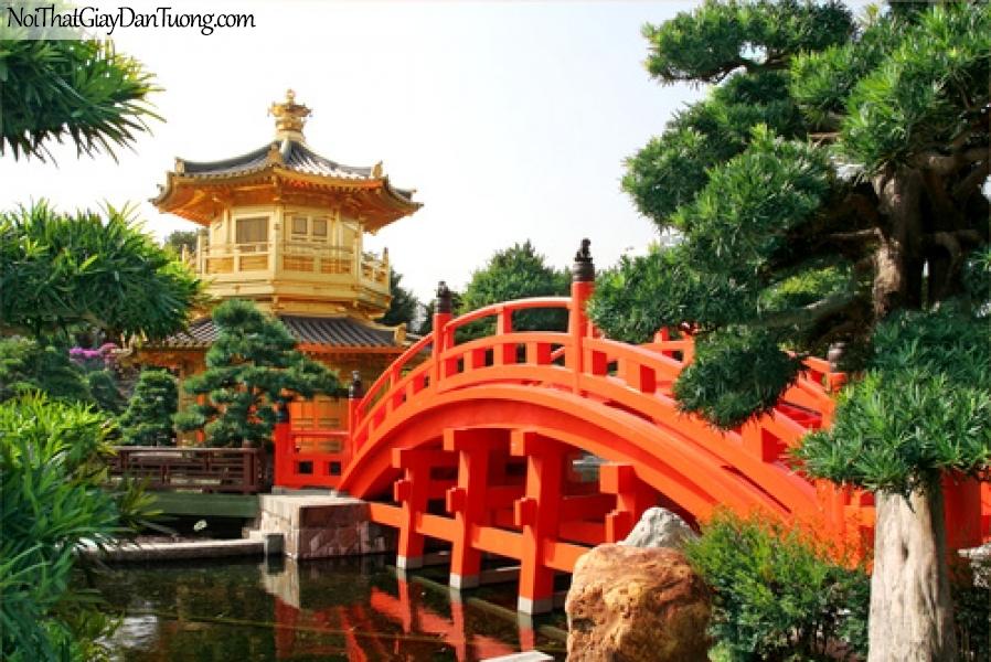 Tranh dán tường , ngôi đền và hồ nước con cầu nhỏ DA0600