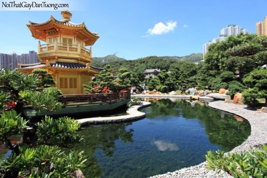Tranh dán tường , ngôi đền và hồ nước những cánh cây xanh DA0620