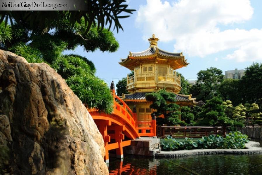 Tranh dán tường , ngôi đền và hồ nước và những cánh cây xanh xanh DA0613
