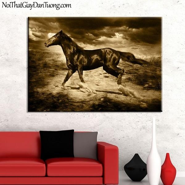 Tranh dán tường | bức tranh tuyệt tác chú ngựa chạy trên thảo nguyên DA004