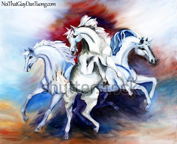Tranh dán tường | bức tranh tuyệt tác với 3 chú ngựa tung vó đá của mình DA021