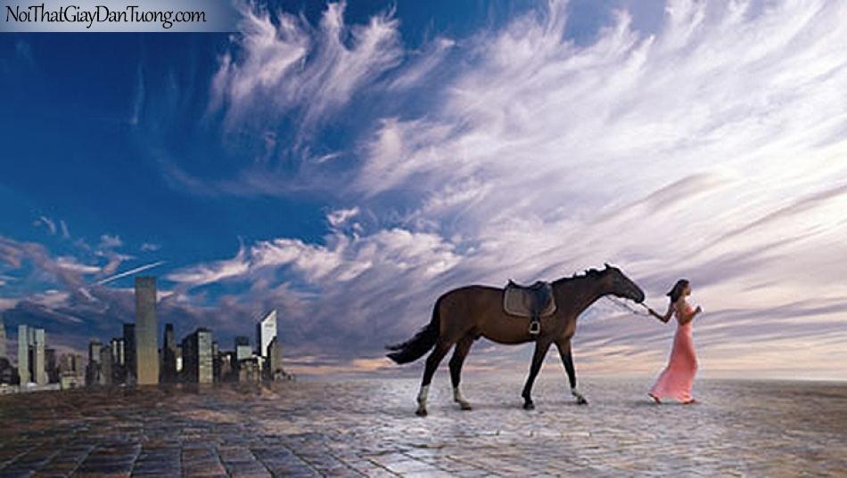 Tranh dán tường   cô gái dắt chú ngựa bên ngoài thành phố giữa bầu trời xanh DA010