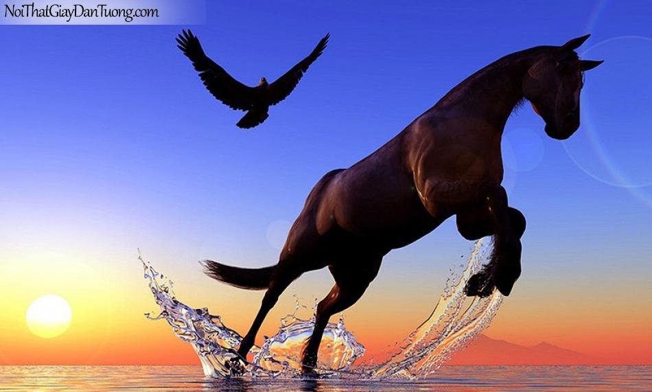 Tranh dán tường   sự dũng mãnh của chú ngựa và đại bàng DA007