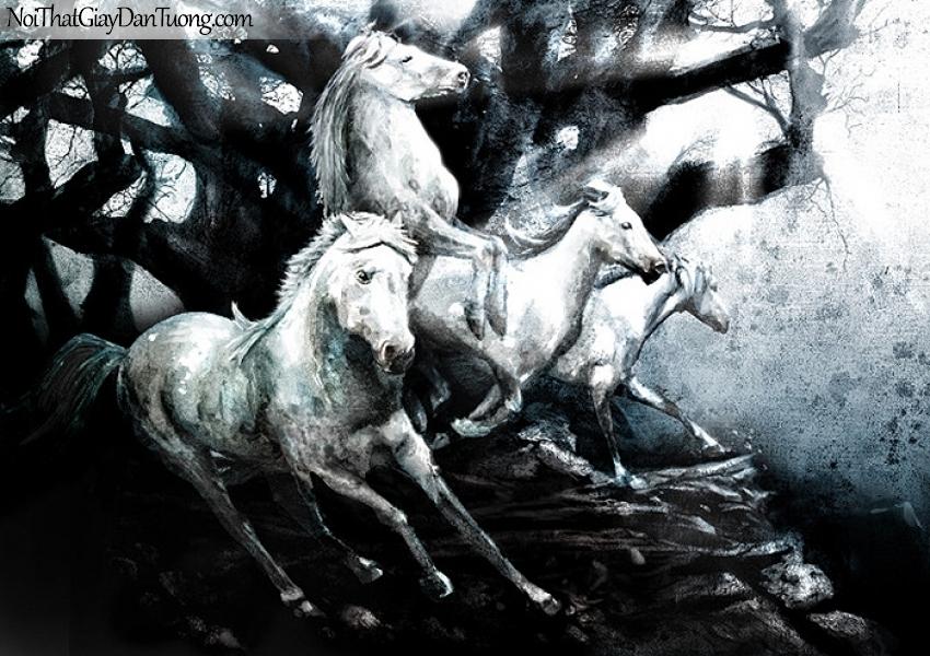 Tranh dán tường   những chú ngựa tung vó đá DA023