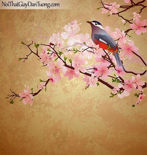 Tranh dán tường đẹp | Chim đậu trên cành hoa đào DA300