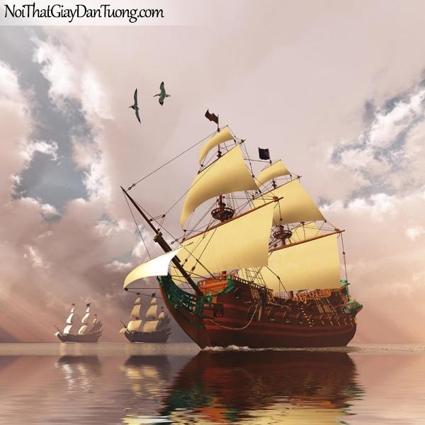 Tranh dán tường | Tranh dán tường thuyền buồm đẹp A001