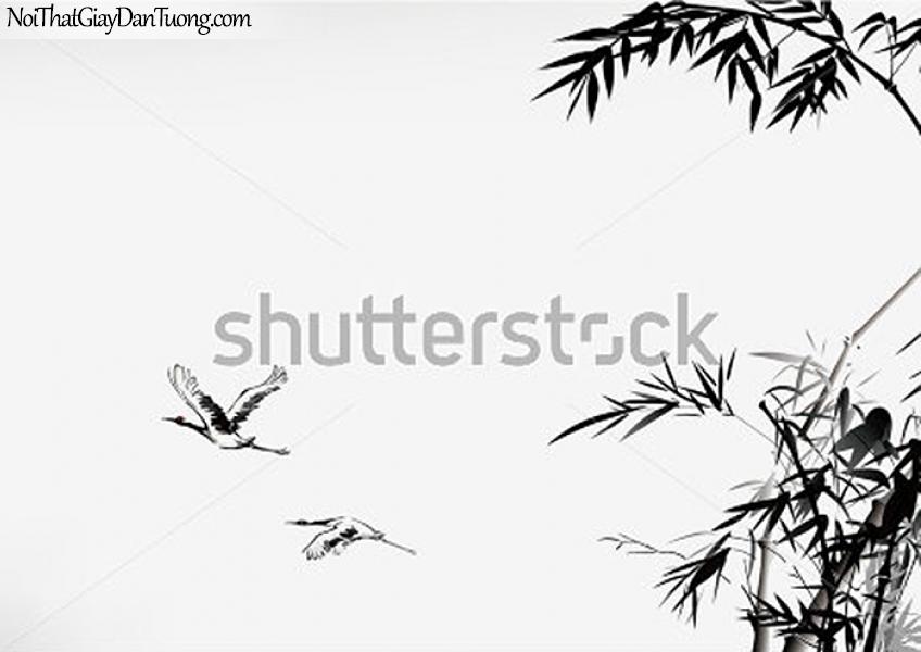 Tranh dán tường , đàn cò bay qua cánh đồng DA327