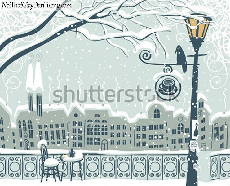 Tranh dán tường , mùa đông tuyết rời trên phố DA317