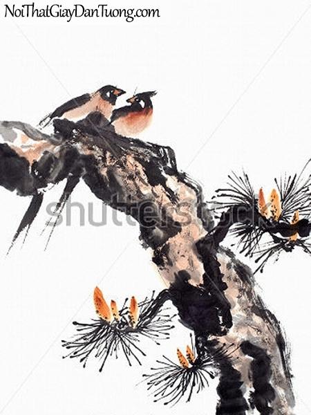 Tranh dán tường , ngắm cảnh 2 chú chim đàng đậu trên ngọn cây DA337