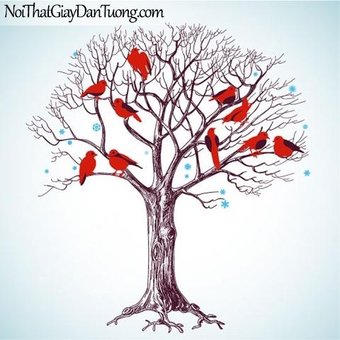 Tranh dán tường , những chú chim nhỏ nhỏ đậu trên ngọn cây kho DA314
