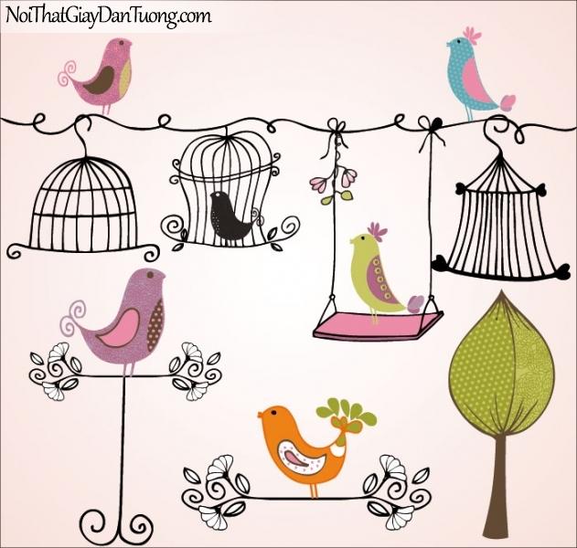 Tranh dán tường , những chú chim nhỏ nhỏ xinh đẹp DA311